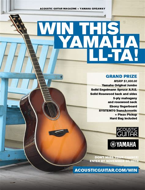 Yamaha Giveaway - win this yamaha ll ta acoustic guitar