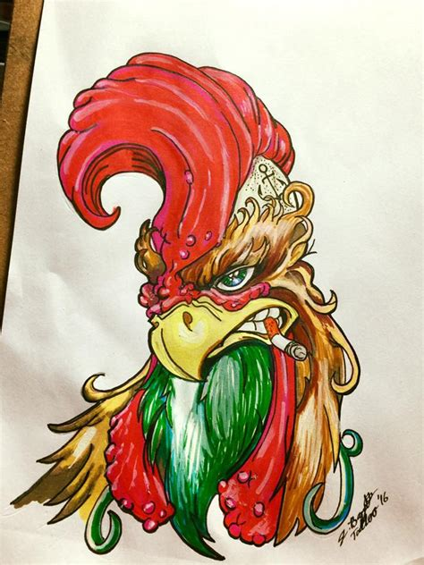 badass rooster tattoo flash by punch line designs on