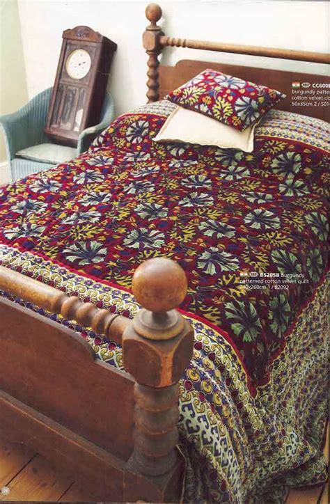 Velvet Patchwork Bedspread - burgundy printed velvet bedspread