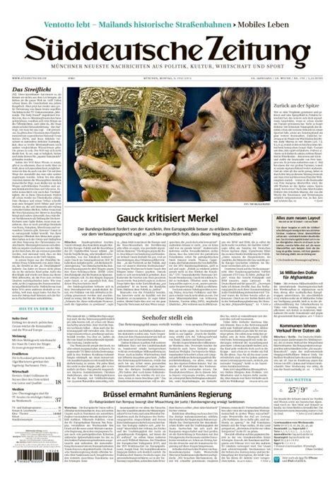 Layout Einer Zeitung Wikipedia | quot s 252 ddeutsche zeitung quot erscheint ab sofort in neuem layout