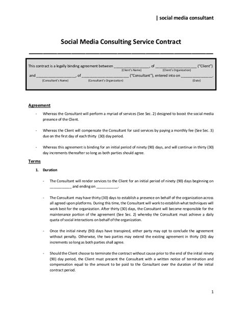 Social Media Consulting Service Contract To Share Smma Contract Template