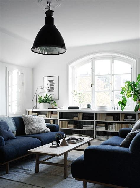 White Living Room With Navy Blue Couch Pictures, Photos