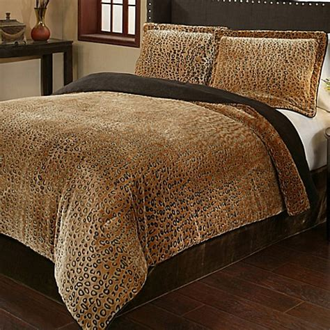 plush comforter sets buy cheetah 3 piece queen plush comforter set from bed