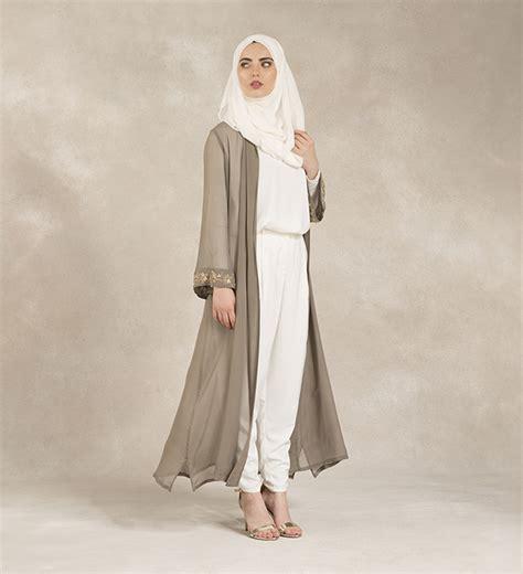 Muslim Fashion Style Grey grey golden leaf kimono 163 94 99 inayah islamic clothing fashion abayas jilbabs hijabs