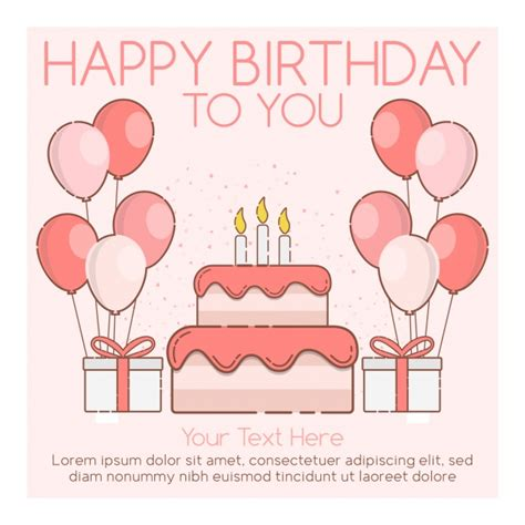 happy birthday card template vector free download