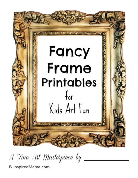Printable Art To Frame | kids art gallery activity picture frame printable b