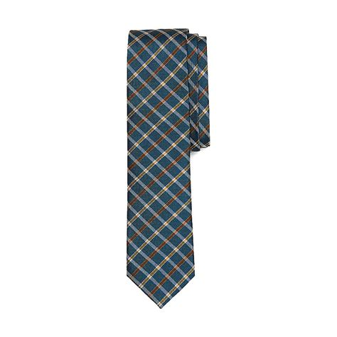 vince camuto plaid silk tie in blue for lyst
