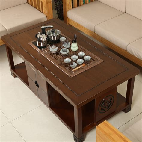 Luxury quality wood kung fu tea table living room coffee