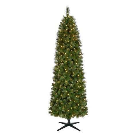 reviews home accent welsley spruce christmas tree home accents 7 ft pre lit led wesley spruce artificial pencil tree with warm