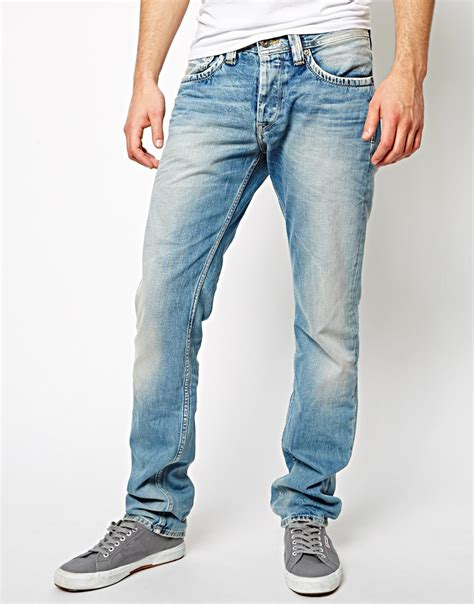 light blue wash jeans mens lyst pepe jeans cash regular tapered fit light wash in