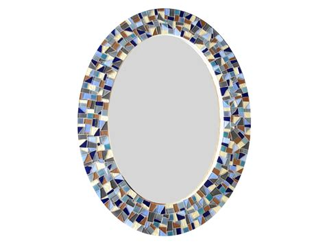 blue mosaic bathroom mirror oval wall mirror blue gray brown mosaic