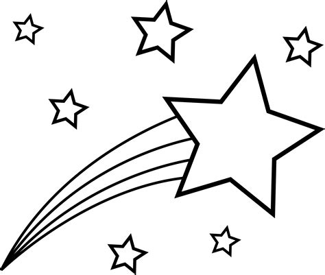 gold star coloring page shooting star colorable line art free clip art