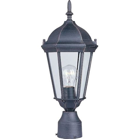 Outdoor Pole Lighting Home Decorators Collection Wilkerson 1 Light Black Outdoor Post Mount 23456 The Home Depot