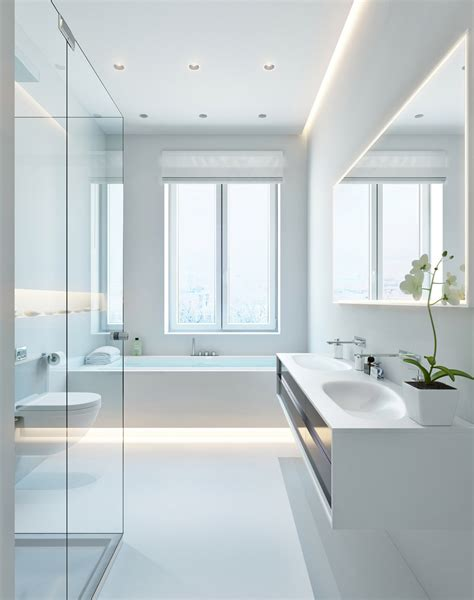 bathroom builder three apartments with special lighting schemes