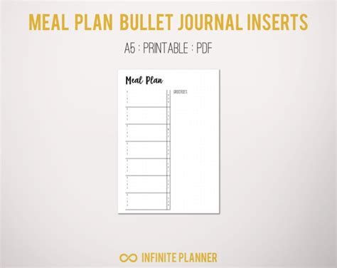 printable bullet journal instructions meal planner a5 bullet journal printable pdf