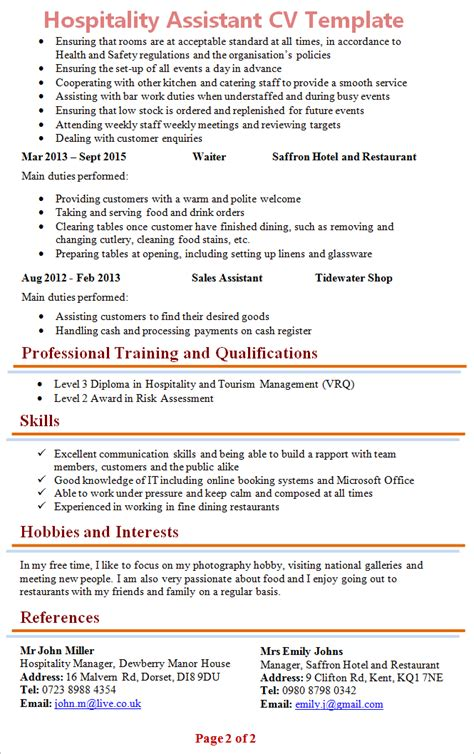 Hospitality Resume Template by Hospitality Assistant Cv Template 2