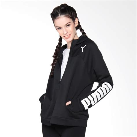 Jaket Hoodie Wanita Black by Jual S Active Sport Fullzip Logo Hoody