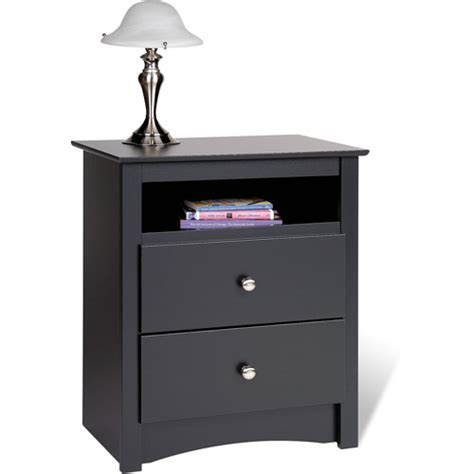 Black Nightstand With Drawers Edenvale 2 Drawer Nightstand With Open Cubbie Black Walmart