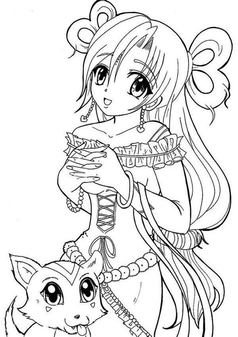 princess kayden coloring pages anime princess and her cat coloring page jpg 600 215 848