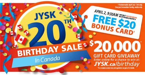 Promo Bonus Gift Away Keren jysk canada bed bath home promotions get a free 20 bonus card today canadian freebies