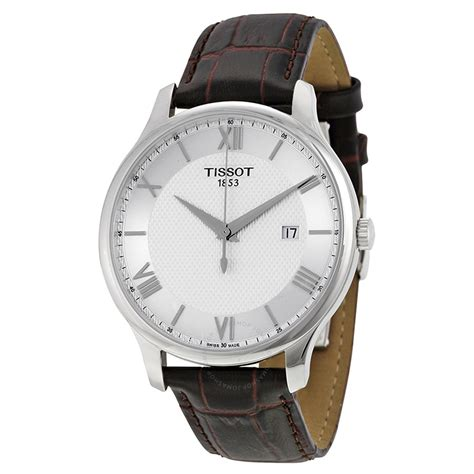 Tissot Tradition Gent T0636101603800 tissot tradition silver brown leather s