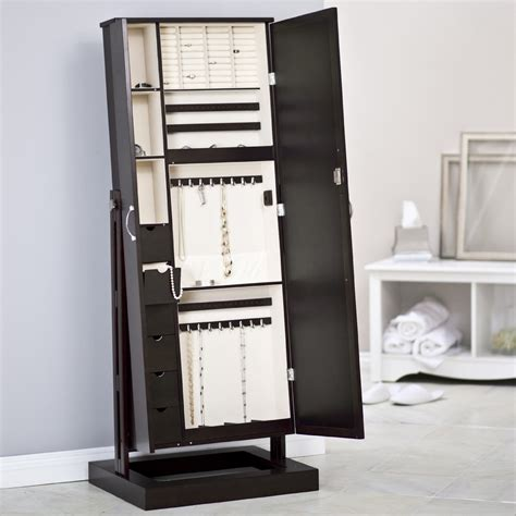 long mirror jewelry armoire free standing jewelry box home ideas