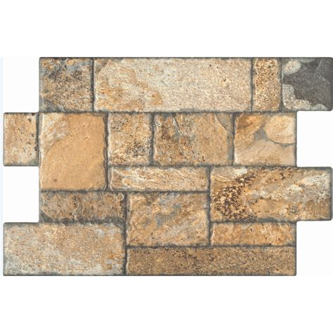 style selections carmen brown glazed porcelain indoor outdoor floor tile common 16 in x 24 in