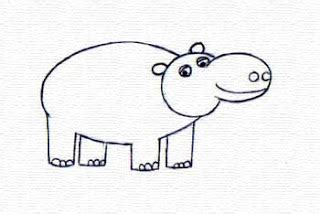 menggambar kuda nil mudah menggambar asik