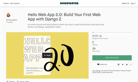 django tutorial kindle hello web app 2 0 is now fundraising on kickstarter