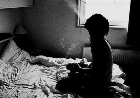 smoking in bed bed bedroom black and white girl smoke image 285543