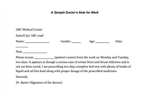 22 doctors note templates free sle exle format