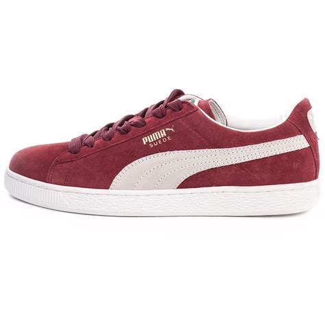 Maroon Suede suede classic unisex trainers in maroon