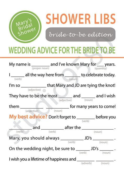 printable wedding shower mad libs printable mad libs bridal shower game