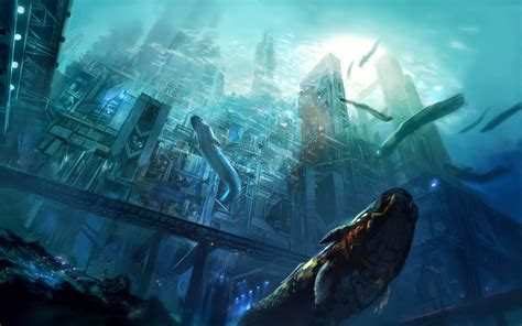 artwork concept art city underwater sea fantasy art