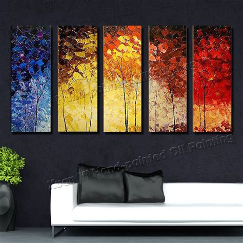 painting decor 5 piece canvas wall art hand painted palette knife oil painting colourful trees decor home