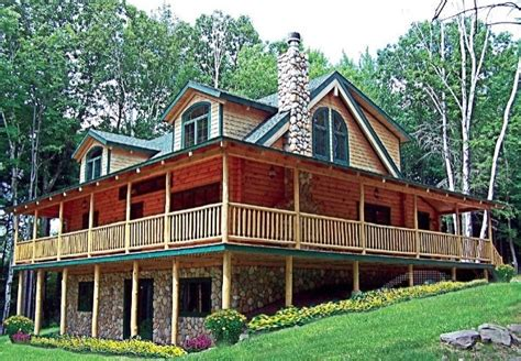 log cabin with wrap around porch ideas for new house
