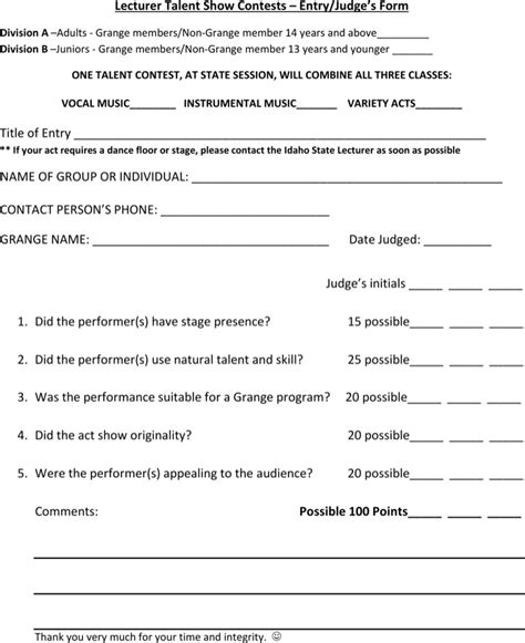 talent show registration form template talent show score sheet free premium
