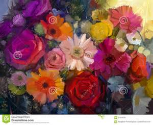 still life of yellow red and pink color flower oil