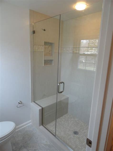 Showers With Seats And Glass Doors Built In Shower Bench W Framless Glass Shower Door