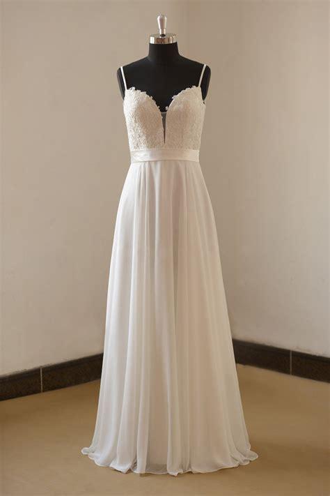 Longdresss Import 1 white sleeveless lace and chiffon a line evening