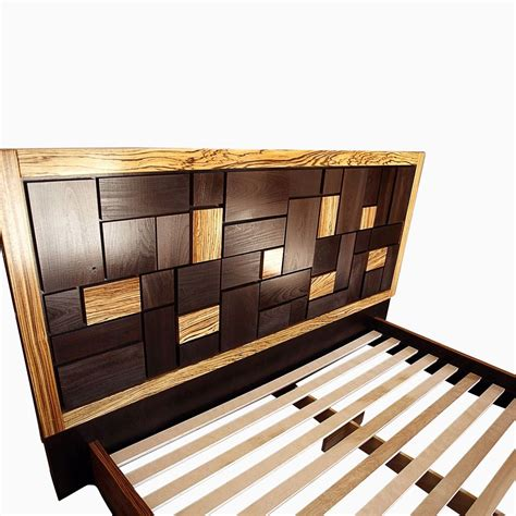 Custom Made Bed Frames Made Patterned Bed Headboard W Zebrawood Frame By Cc Furniture Custommade