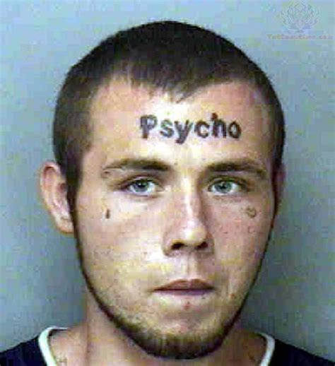 psycho forehead tattoo