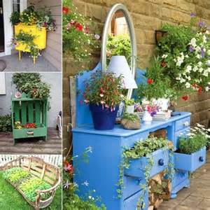 cool and creative recycled furniture planter ideas