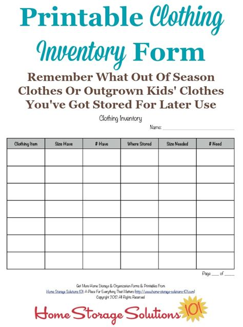 Printable Clothing Inventory Form Clothing Store Inventory Spreadsheet Template