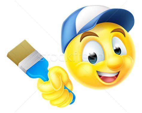 Painting Emoji by Painter Emoji Emoticon With Paintbrush Vector Illustration