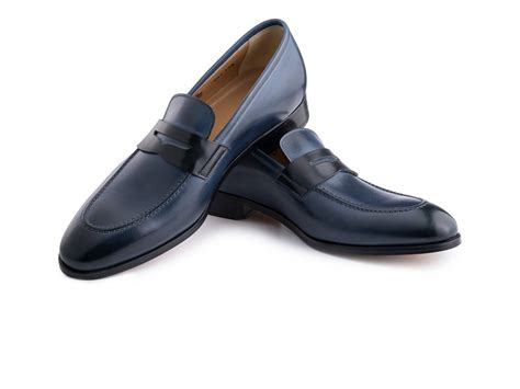 black and loafers loafer shoes in avio antique and black leather