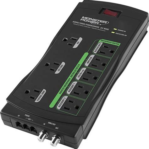 Monster Cable GreenPower 8 Outlet Surge Protector 121801 00   Best Buy