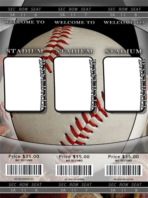 sport ticket template baseball photo templates