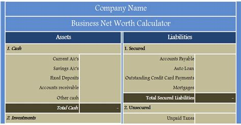 Excel Net Worth Template by Business Net Worth Calculator Excel Template