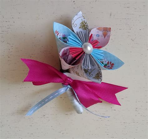Origami Buttonhole Flower - items similar to paper flower origami corsage buttonhole